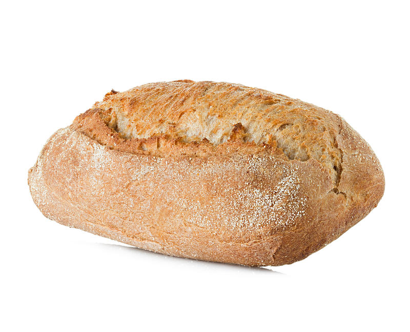 Bread with bran isolated on a white stock image