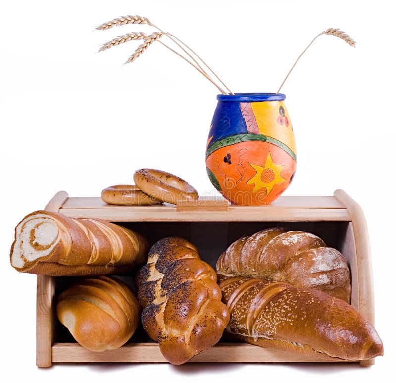 Bread And Bread-basket, Isolat Stock Photos