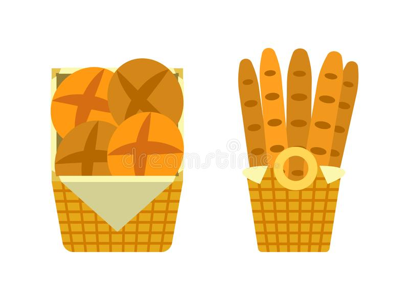 Bread and Buns in Basket Showcase of Bakery Seller royalty free illustration