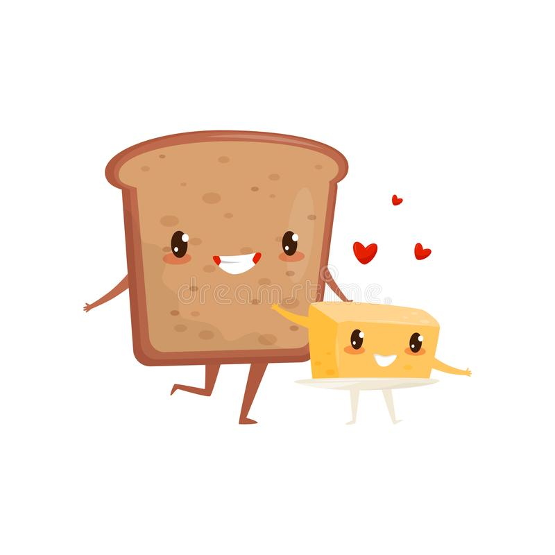 Bread and butter are friends forever, cute funny food cartoon characters vector Illustration on a white background. Bread and butter are friends forever, cute stock illustration
