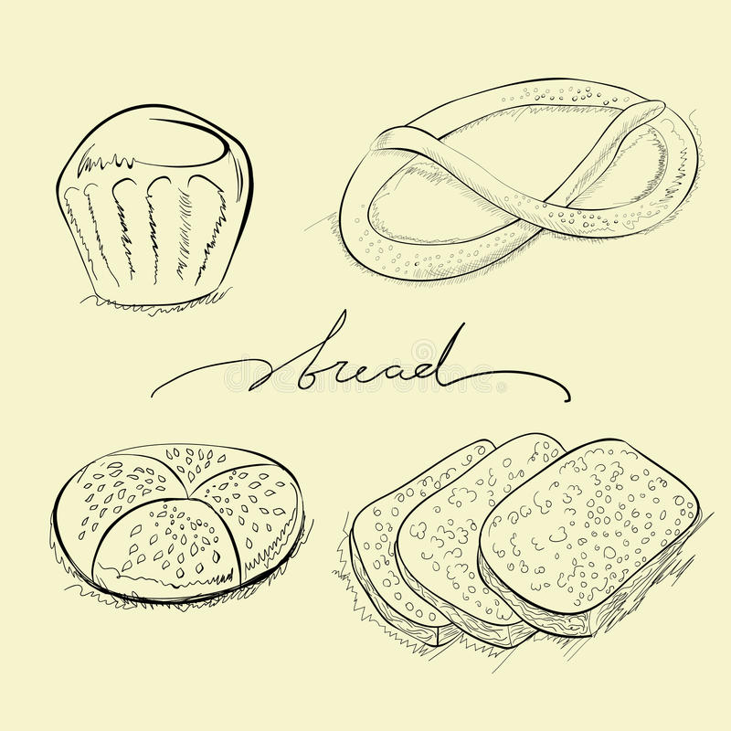 Bread, cake and pretzel