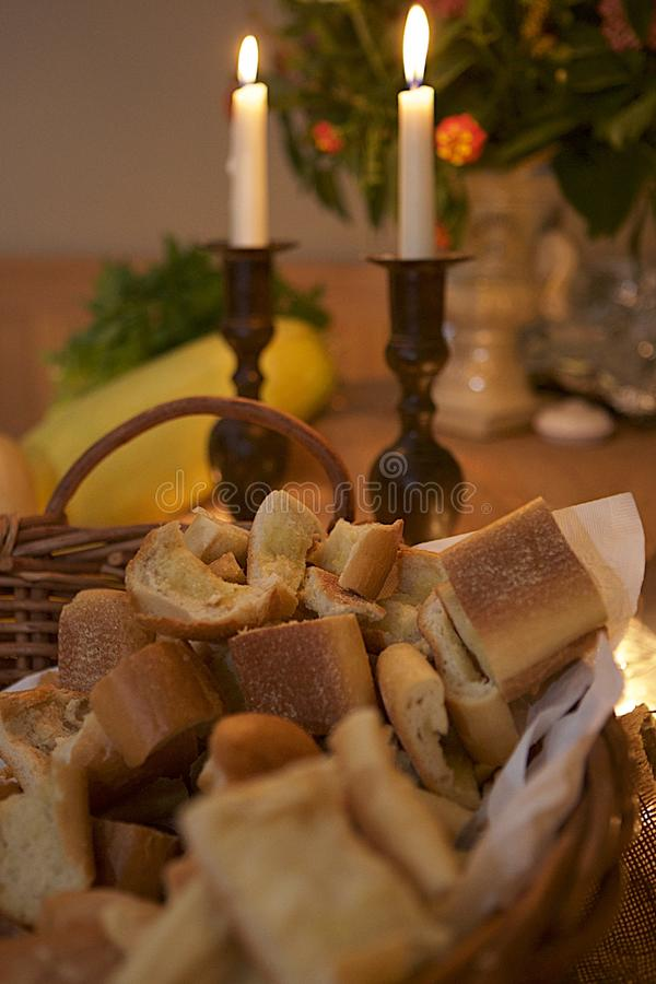 Bread, Candles and Ambiance stock photos
