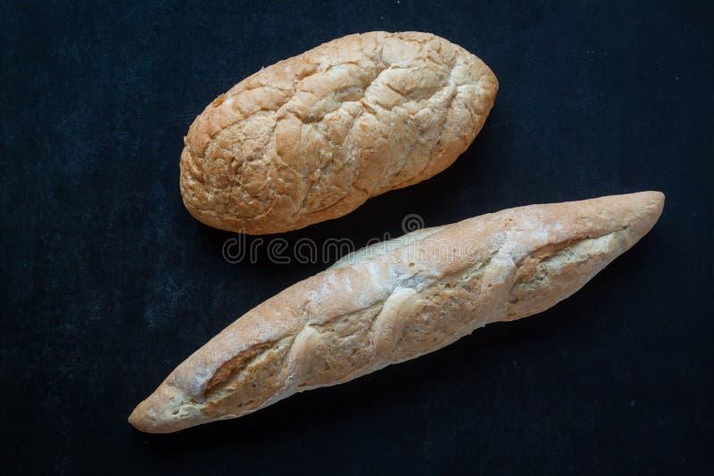 Bread on chalkboard royalty free stock photo