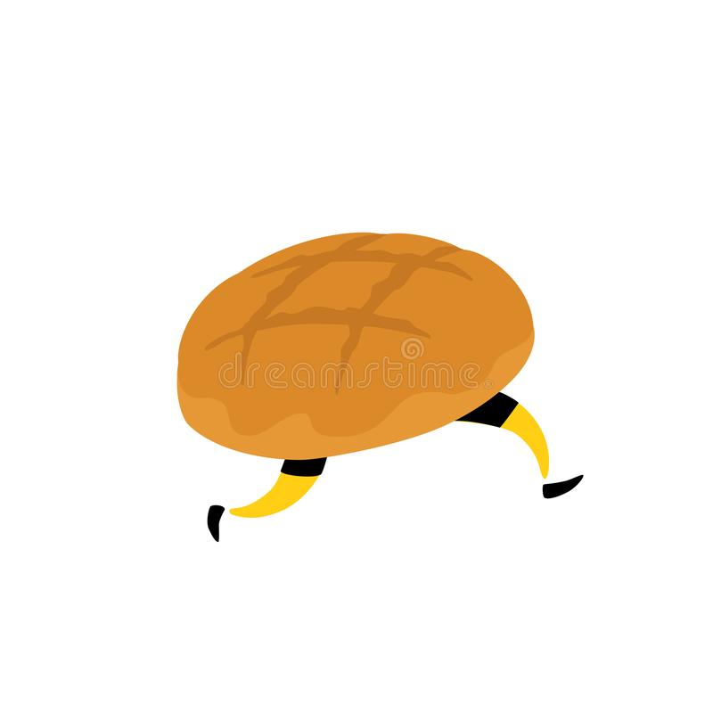 Bread character illustration. Vector. Running crunchy loaf with legs. Icon for the site. Sign, logo for the store. Delivery of fre stock illustration