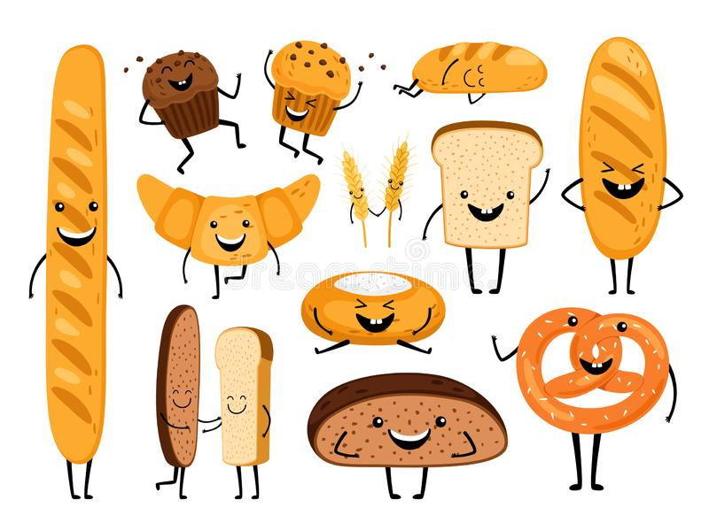 Bread characters. Funny tasty bakery pastries, cartoon happy breads faces character set, kawaii croissant and pastry stock illustration