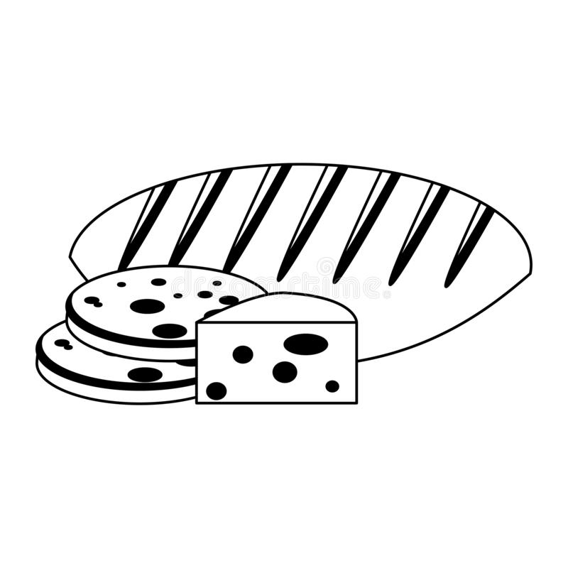 Bread and cheese in black and white royalty free illustration