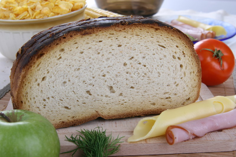 Bread with cheese and ham royalty free stock photography