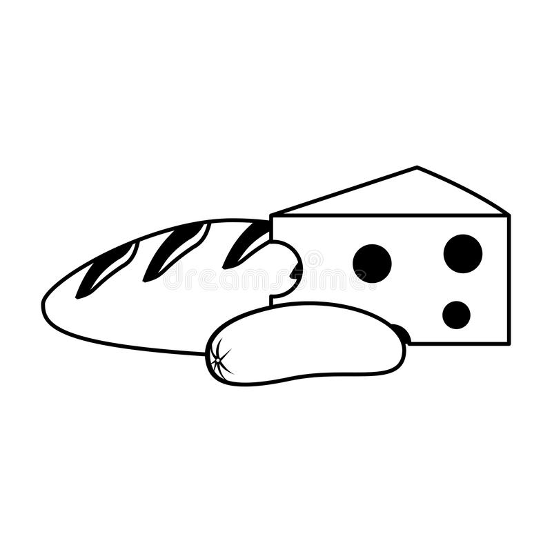 Bread and cheese with sausage in black and white vector illustration