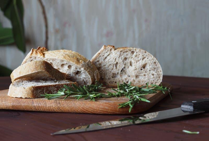 Bread, ciabatta, rosemary, French bread, healthy food, bakery, royalty free stock photo