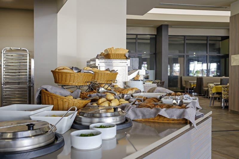 Bread corner in hotel restaurant 4 stock images