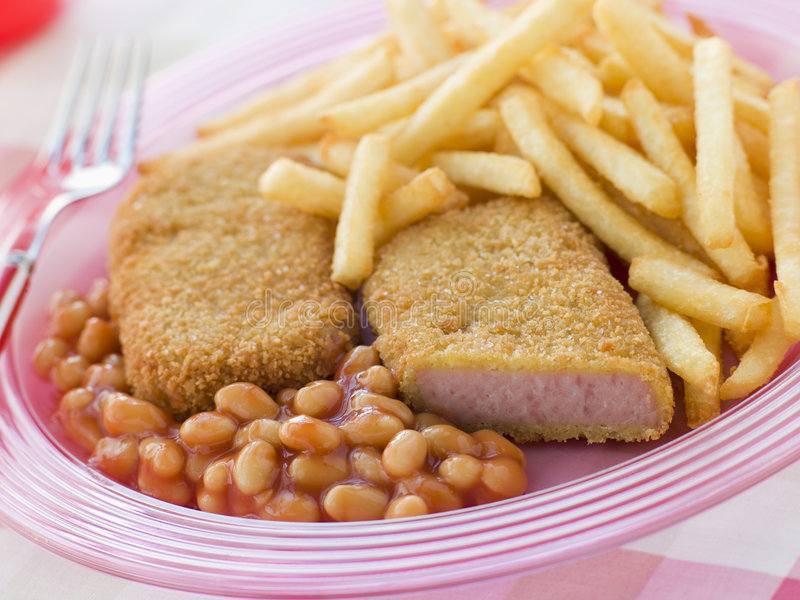 Download Bread Crumbed Luncheon Meat With Baked Beans Stock Photo - Image: 5858976
