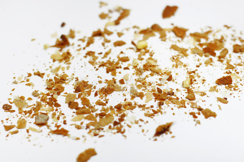 Bread crumbs. On a white background stock images
