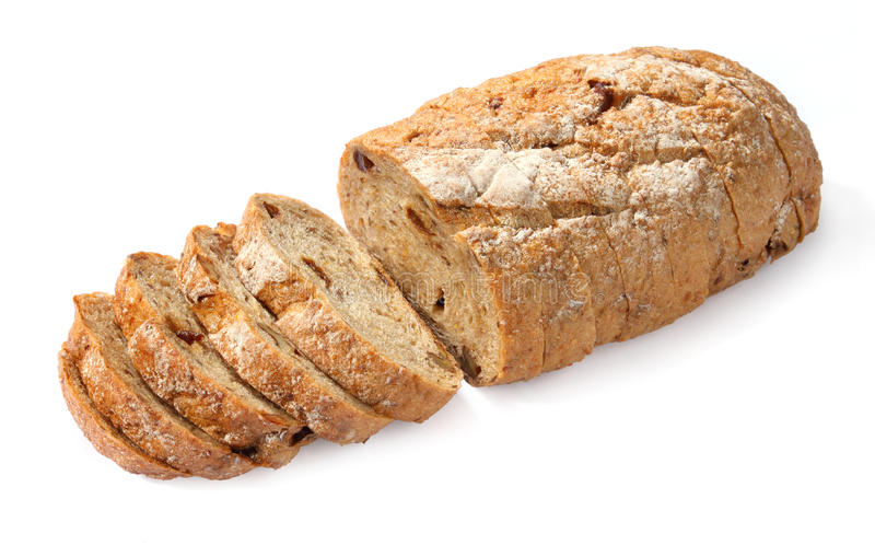 Bread cut. On white background royalty free stock photo