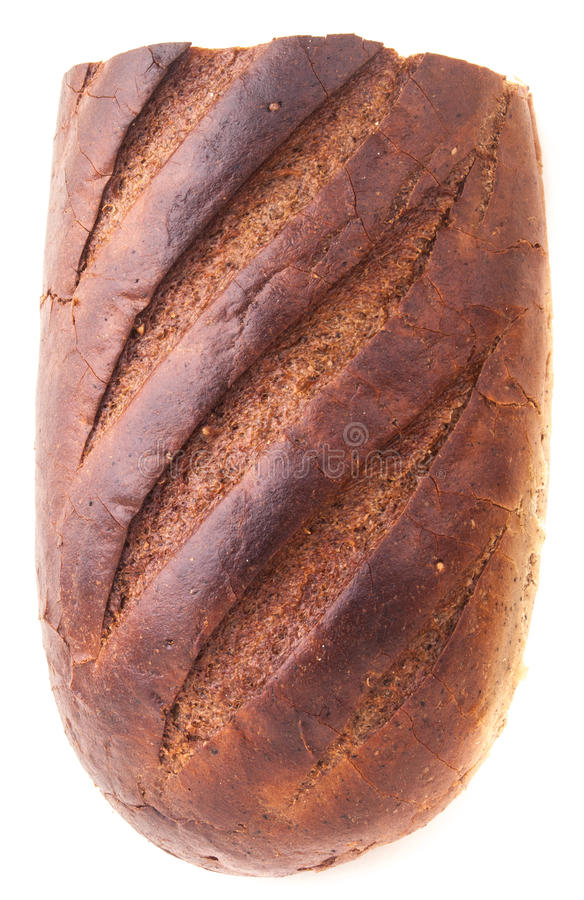 Bread. Cut brown bread isolated on white stock photos