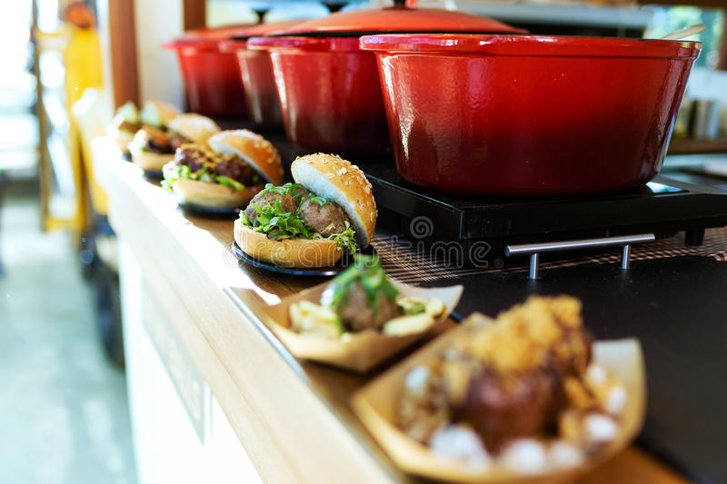 Bread with different types meatballs in a food truck. Close-up of bread with different types meatballs in a food truck royalty free stock images