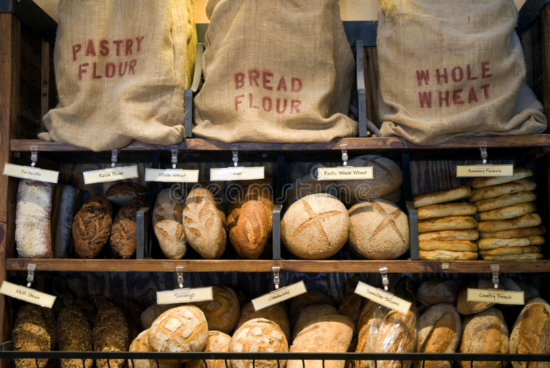 Bread display stock photos