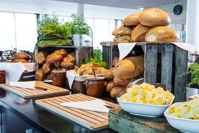 Bread display at a hotel buffet. Bread selections on display at a hotel buffet stock photography