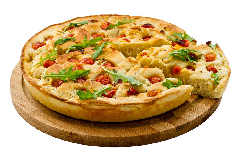 Download Bread Dough Focaccia With Salad Stock Image - Image: 31255383