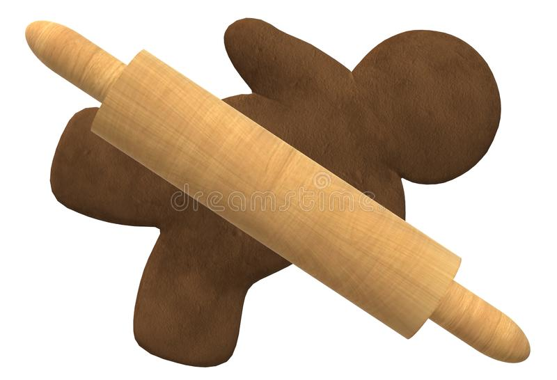 A bread dough rolling wooden pin over a flat blank gingerbread man royalty free stock images