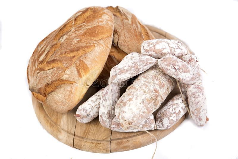 Bread and dried sausages royalty free stock photo