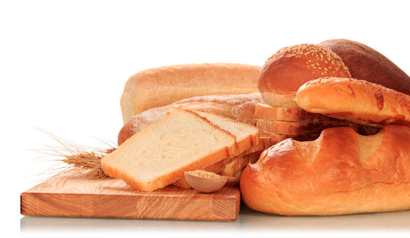 Bread and ears of wheat royalty free stock photos