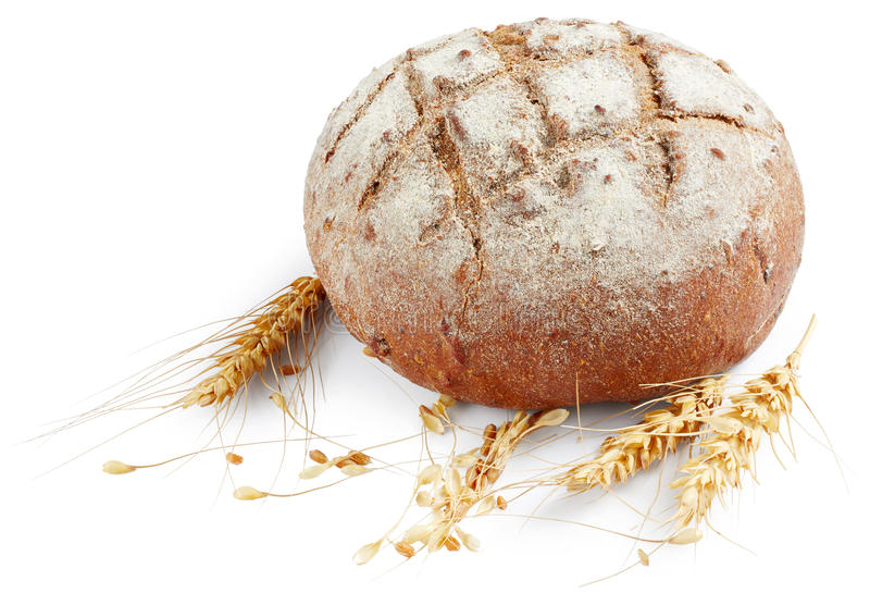 Bread with ears of wheat royalty free stock images