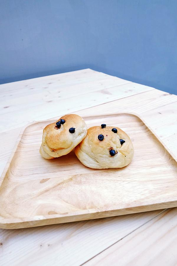 Bread filled with Chocolate Chip royalty free stock images