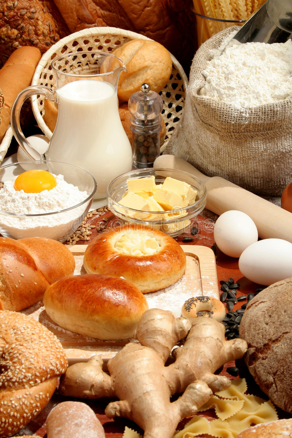 Free Bread, Flour, Milk, Butter... Stock Images - 3427314