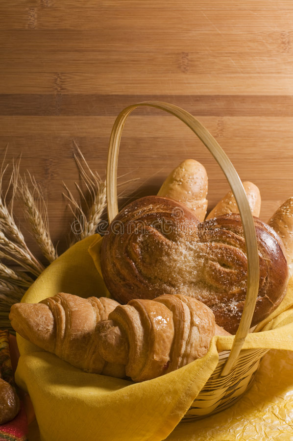 Download Bread food in a basket stock photo. Image of nobody, pastry - 8216788
