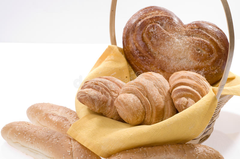 Bread food in a basket stock image