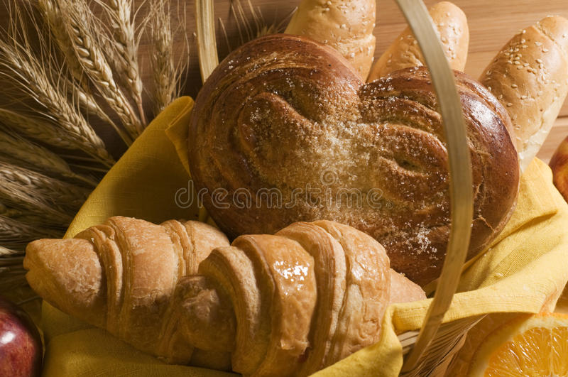 Bread food in a basket royalty free stock photos