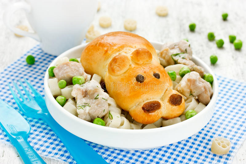 Bread in the form of a hippo with stewed meat, vegetables and pa royalty free stock image