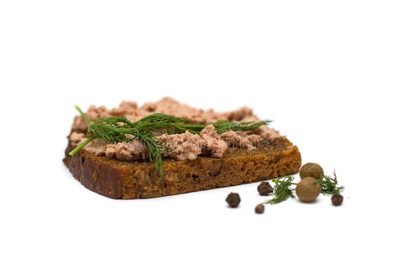 Bread with fresh pate stock images