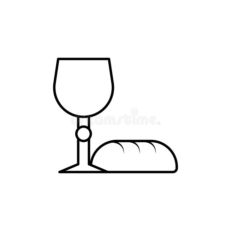 bread and grail icon. Element of Easter holiday for mobile concept and web apps. Thin line icon for website design and development royalty free illustration