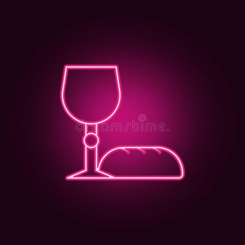 bread and grail icon. Elements of Easter in neon style icons. Simple icon for websites, web design, mobile app, info graphics vector illustration
