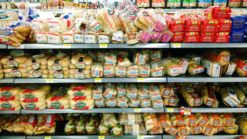 Bread in grocery store royalty free stock photo