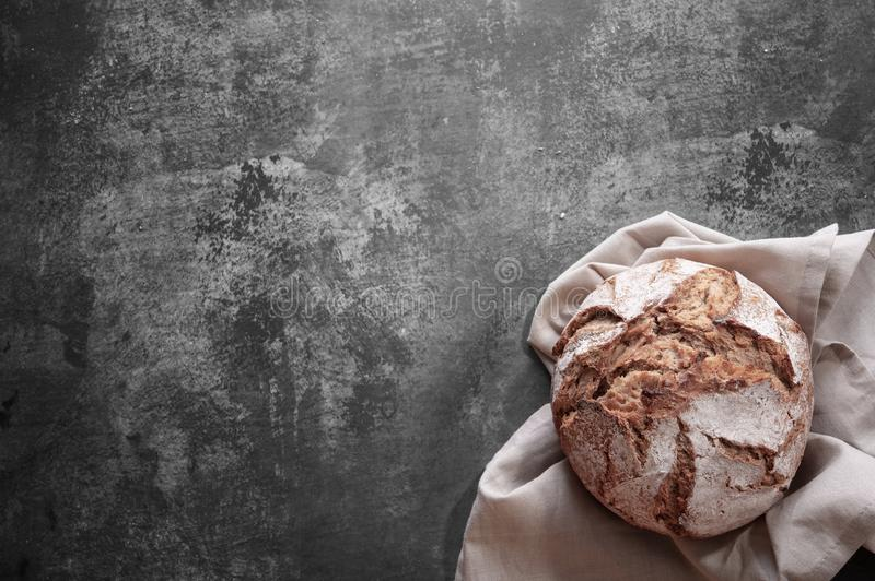 Bread homemade top view gray background stock photography