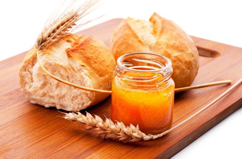 Bread and honey royalty free stock photo