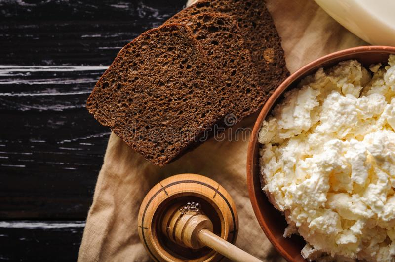 Bread honey and cottage cheese top view.  stock image
