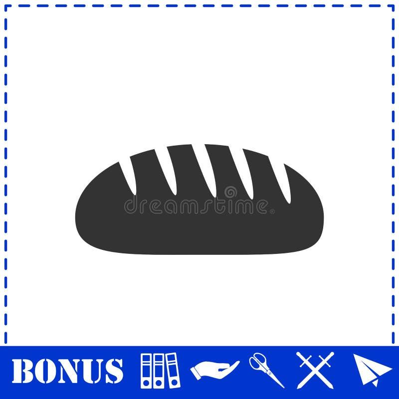 Bread icon flat. Simple vector symbol and bonus icon stock illustration