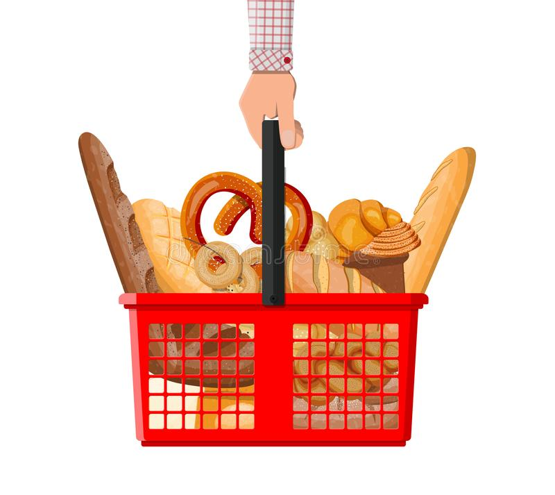 Bread icons and shopping basket in hand stock illustration