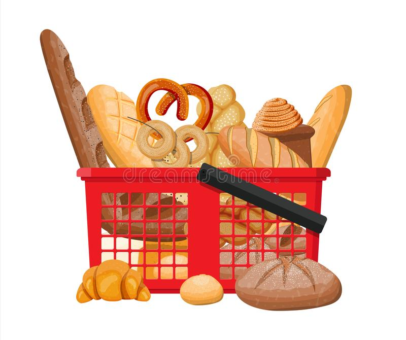 Bread icons and shopping basket. royalty free illustration
