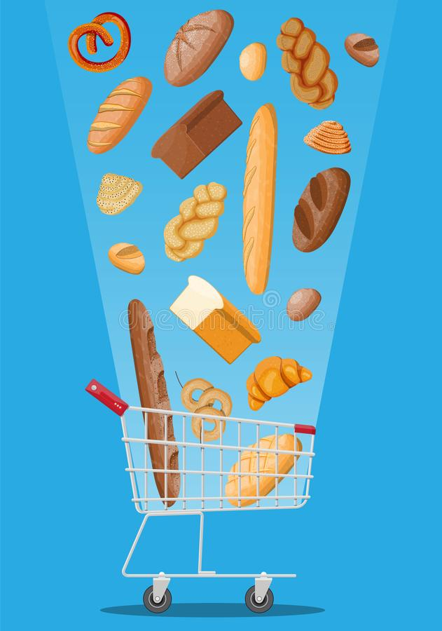 Bread icons and shopping cart. stock illustration
