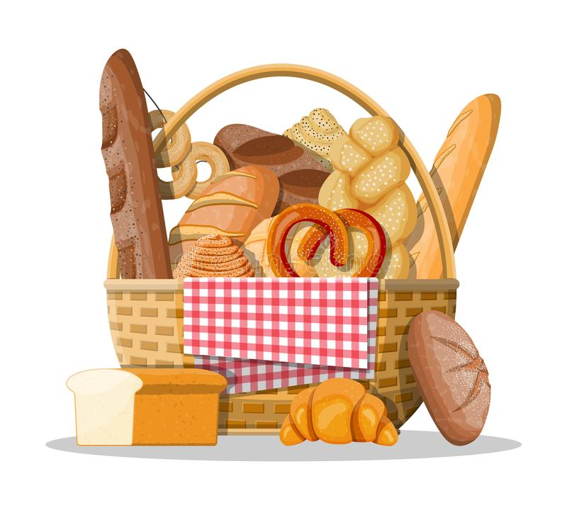 Bread icons and wicker basket. stock illustration