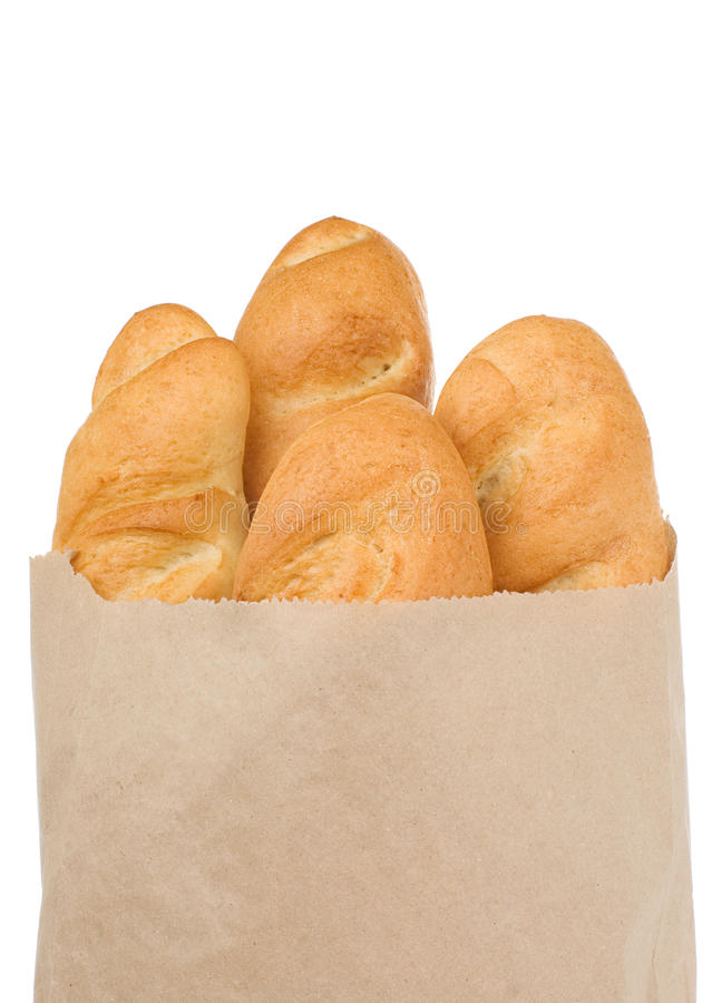 Bread isolated in paper bag stock images