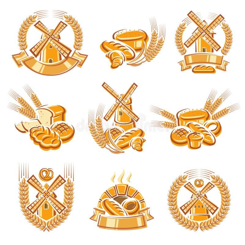 Bread labels and elements set. Vector vector illustration