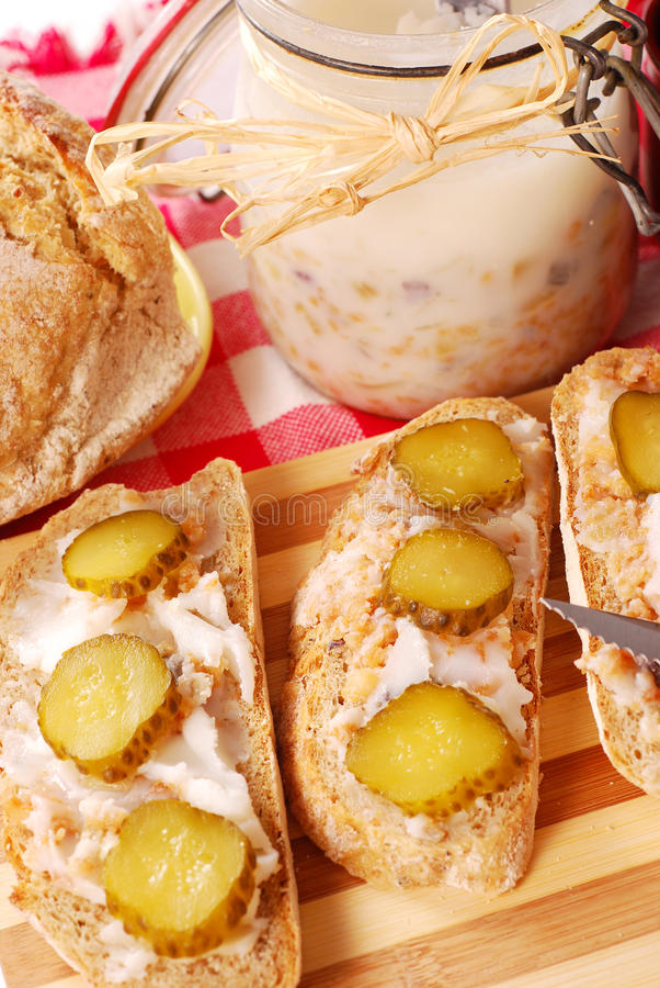 Download Bread With Lard And Gherkin Stock Photo - Image: 13560938