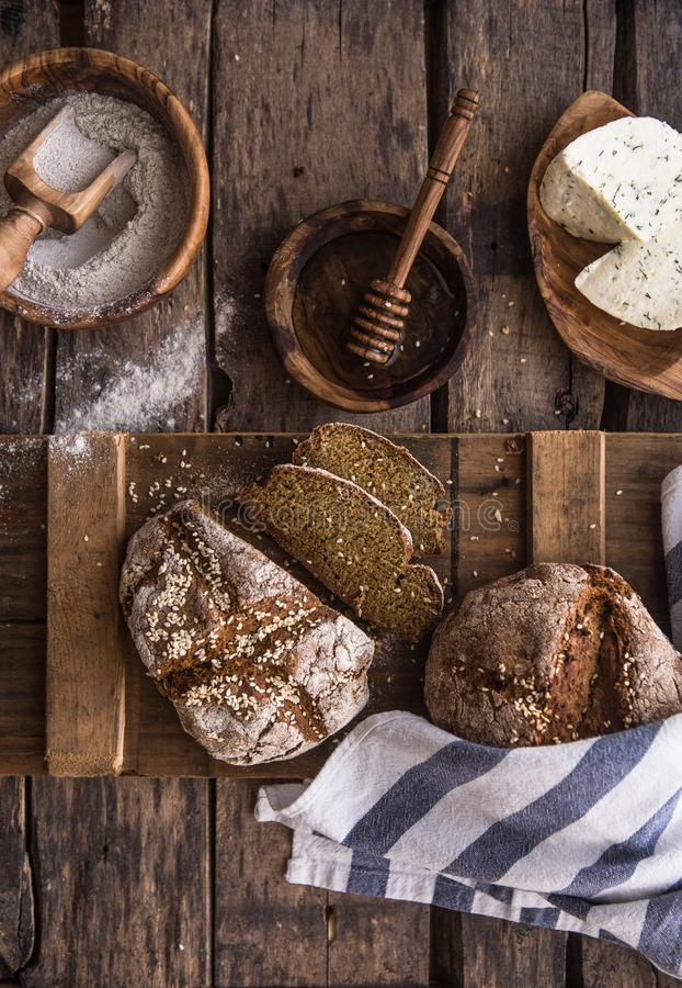 Bread on the leaven. Fresh homemade bread. Crisp. Bread at leaven. Unleavened bread. dietary bread stock photos