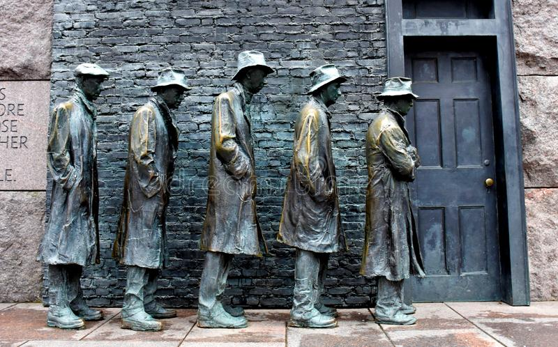 The Bread Line Sculpture by George Segal. `The Bread Line` sculpture by George Segal, Franklin Delano Roosevelt Memorial, Washington, USA stock photos