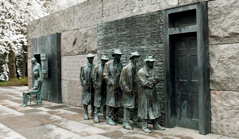 `The Bread Line` Sculpture by George Segal. Franklin Delano Roosevelt Memorial, Washington, USA stock photography